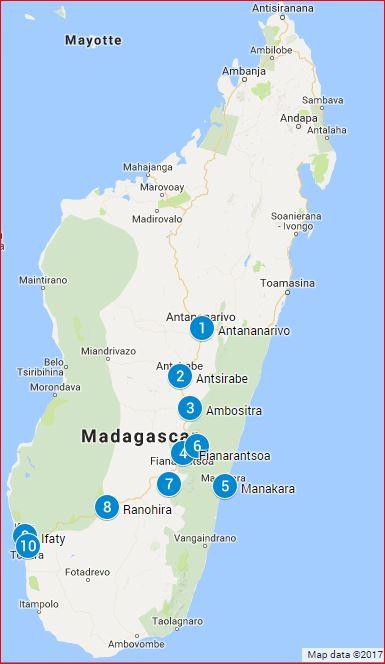 Reiseroute Madagaskar classic